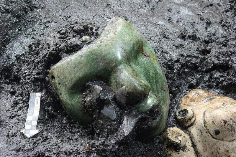 A Green Stone Mask In Teotihuacán, Mexico