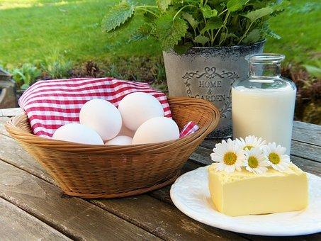 Egg, Milk, Butter, Out, Garden, Herbs