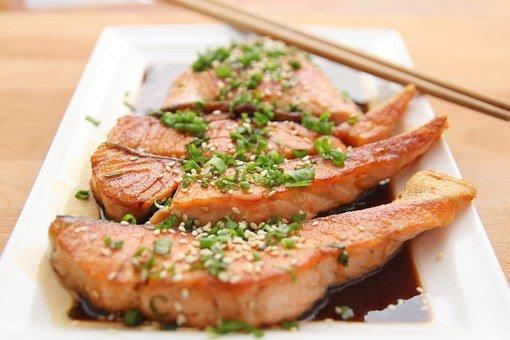 Food, Salmon, Teriyaki, Fish, Eat, Dish