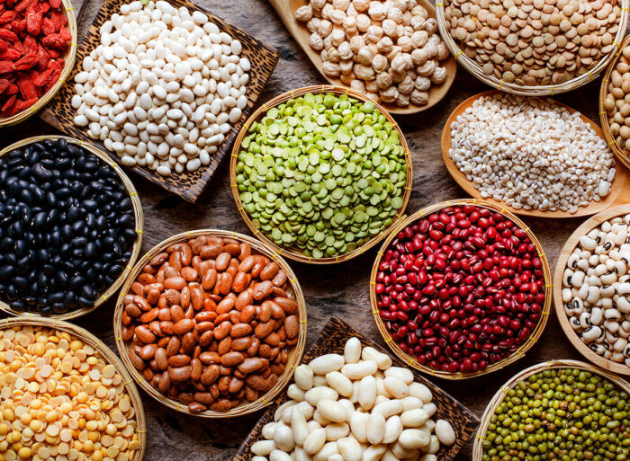 lentils, beans and different healthy foods
